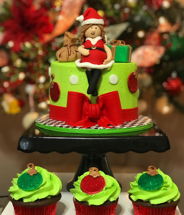 Christmas Baby Shower Cake And Cupcakes