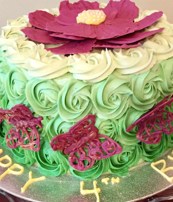 Ombré Rosette Cake With Candle Melt Butterflies...