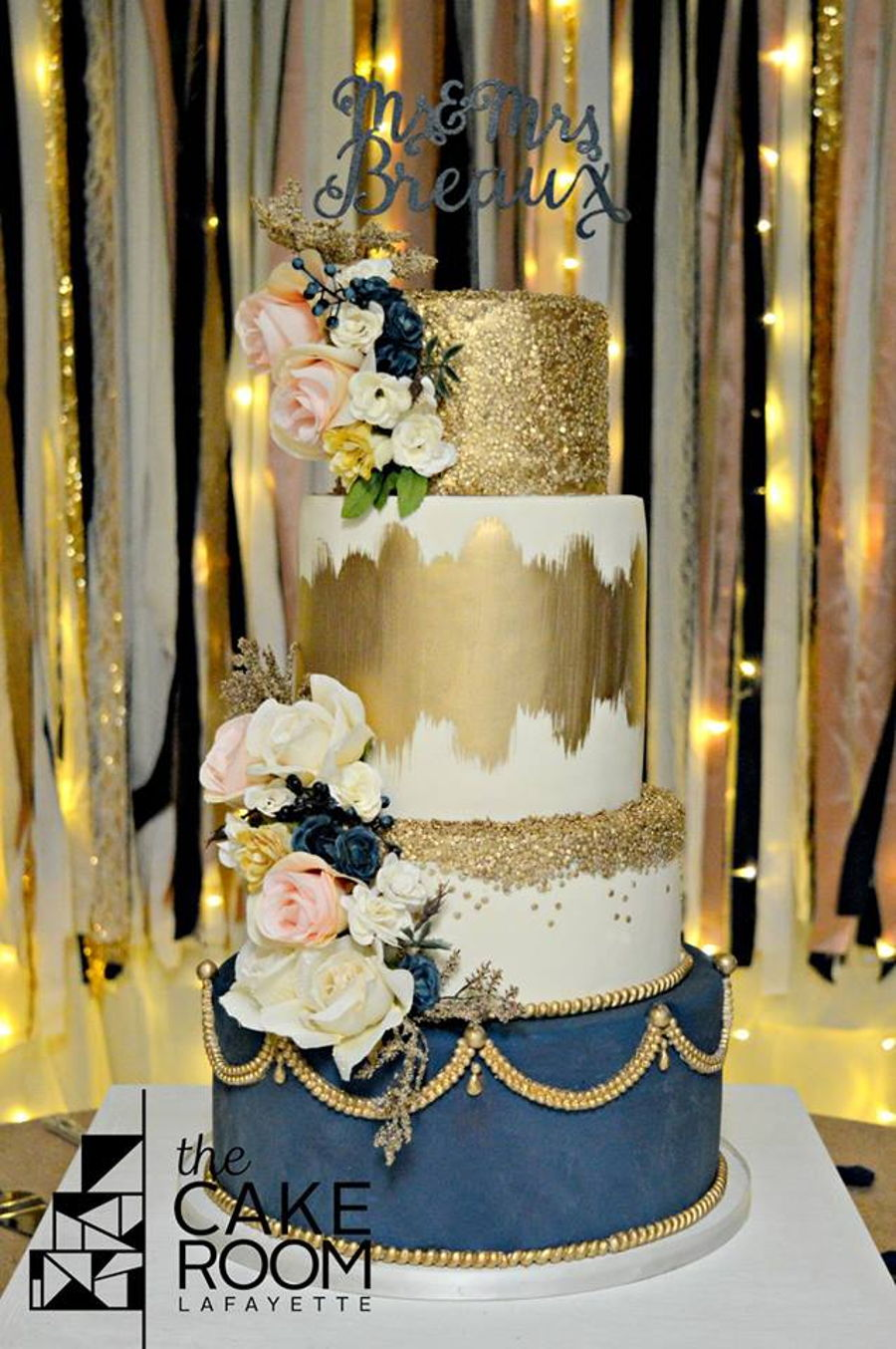 Blue And Gold Wedding Cake on Cake Central