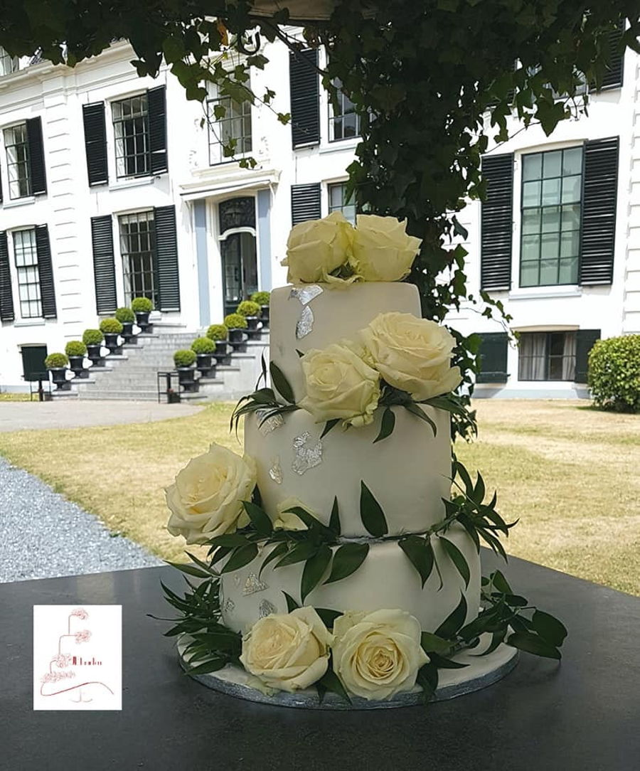 Weddingcake With Roses And Silverleaf on Cake Central