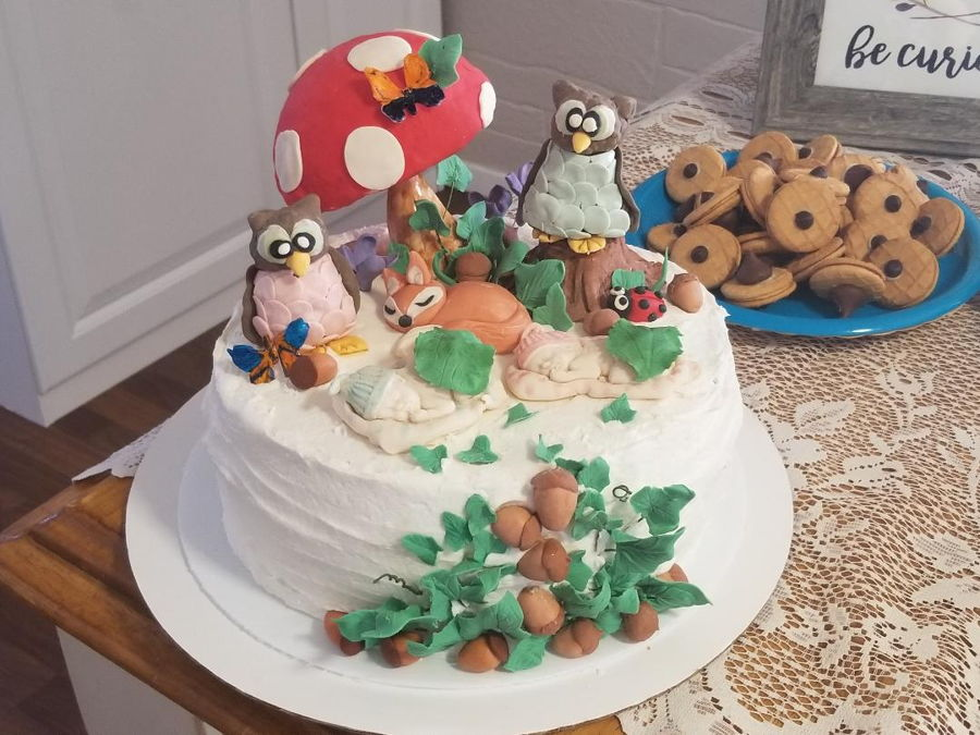 Woodland Creatures Baby Shower For Twins on Cake Central