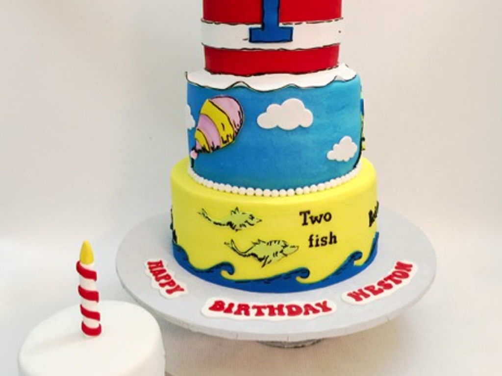 Marvelous Dr Seuss First Birthday Cake With Smash Cake Cakecentral Com Funny Birthday Cards Online Aeocydamsfinfo