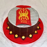 Ancient Roman Soldier Cake Chocolate cake decorated with fondant to resemble ancient roman soldier's armour