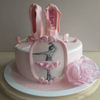 Ballerina Cake …with hand painted ballerina and her slippers on the top.