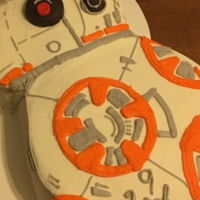 Bb8 Cake Super easy BB8 cake made from two round cakes. Orange flavored cake with orange cream buttercream icing.