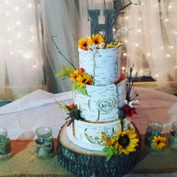 Birch Bark Wedding Cake Fondant birch bark designed by hand and airbrushed. Artificial flowers and decor.