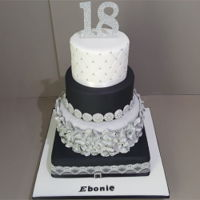 Black,silver And White Red Velvet 18Th Birthday Cake For A Brighouse Customer. Black,silver and white red velvet 18th birthday cake for a Brighouse customer. https://goo.gl/vbwLeq