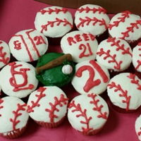 Cardinals Baseball Cupcakes Strawberry cupcakes with vanilla buttercream icing made for a 21st birthday for a Cardinals Baseball fan!