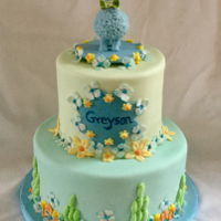 Christening Cake After seeing the cute llama topper by Sugar High, I decided I wanted to make a version of it,