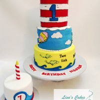 Dr. Seuss First Birthday Cake With Smash Cake Buttercream iced smooth 3 tier cake. Fondant details. Thanks for looking!