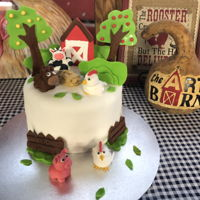 Farm Themed Birthday This is a dark chocolate cream filled 10 inch cake with fondant farm animals and theme.