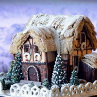 Gingerbread Cottage Gingerbread house with thatched shredded wheat roof