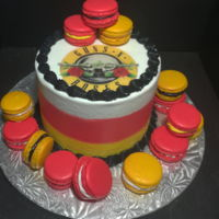 Guns N Roses Macaroon Cake Smooth buttercream, edible image logo, traditional French macaroons with vanilla & chocolate buttercream filling