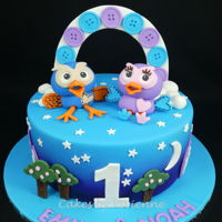 Hoot & Hooterbell Birthday Cake 9 inch chocolate mud cake with all fondant decorations