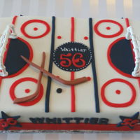 Ice Hockey Cake Nine by Thirteen sheet cake in Fondant.