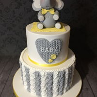 Knitted Effect Baby Shower Cake With Elephant Topper Grey and yellow theme