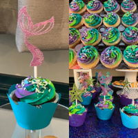 Mermaid Themed Cupcakes Chocolate and vanilla cupcakes with buttercream frosting. Coordinating custom made wrappers and toppers.