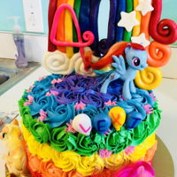 My Little Pony Cake Dark chocolate and vanilla confetti cake, rainbow ABC rosettes, fondant decorations.