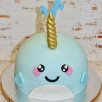 Narwhal Chocolate Cake with Fondant Accents