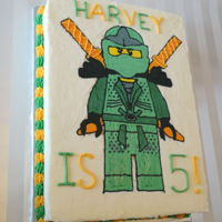 Ninjago Cake Nine inch by Thirteen inch quarter sheet cake in buttercream.