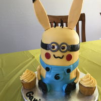 Pikachu/minion Cake One twin loves minions. The other loves Pikachu. Luckily they are both yellow and make a perfect mashup cake.