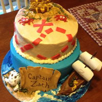 Pirate Treasure This was the first major cake decorating project I undertook for my son's birthday. Toppers made from fondant, cake iced with...