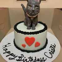 Realistic Cat Cake Kitty cat is made of modeling chocolate and sugar eyes