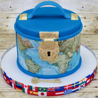 Travel Case Cake Cake for one of my son's teachers. She likes to travel and her favorite color is blue. Six inch chocolate fudge cake with dark...