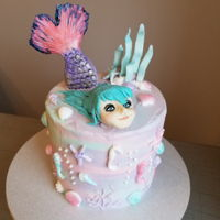 Underwater Mermaid Watercolor Cake I used a combination of modeling chocolate, fondant, and gumpaste for the decor.