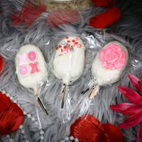 "Valentine Cakesicles Valentine themed cakesicles in chocolate and vanilla. Cake and buttercream ""dough"" formed in silicone popsicle mold and..."