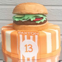 "Whataburger Cake 8"" cake stacked, iced and filled with American buttercream. Fondant embellishments, burger topper is RKT and buttercream with..."
