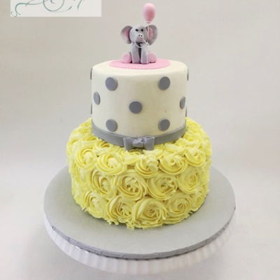 Baby Shower Cake - Yellow And Grey
