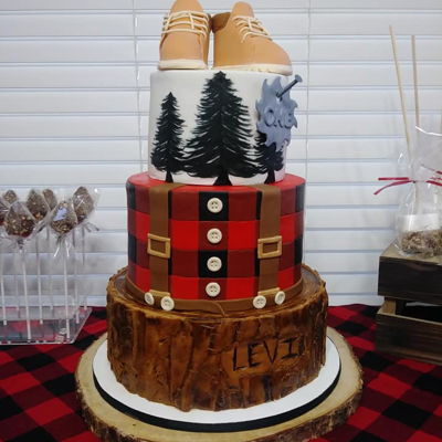 Lumber Jack Theme First Birthday Cake