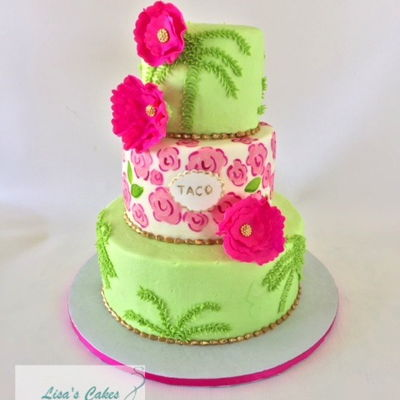 Palm Tree Bridal Shower Cake Buttercream iced cake with hand painted flowers on cake and Gumpaste flowers.
