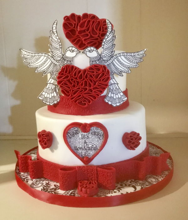 Quilled Heart Cake