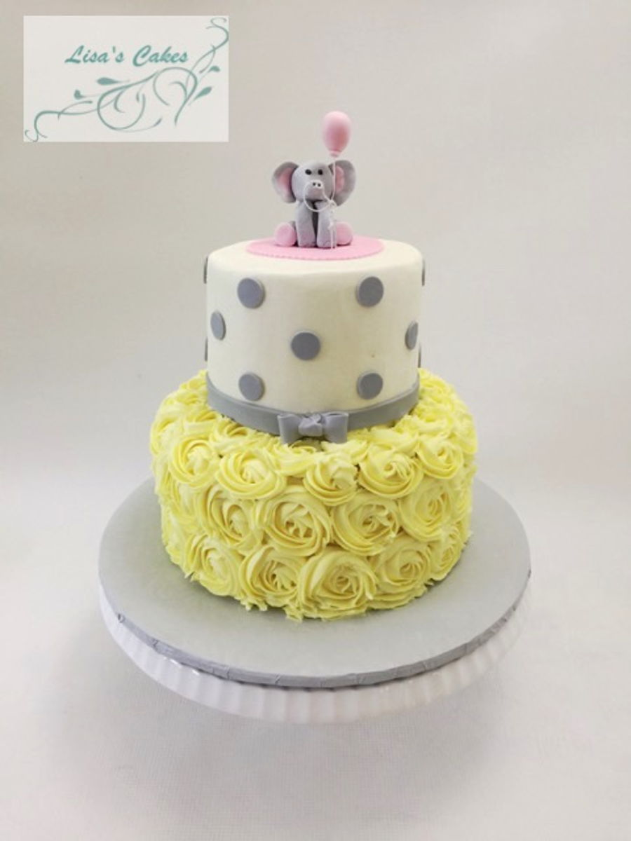 Baby Shower Cake - Yellow And Grey on Cake Central