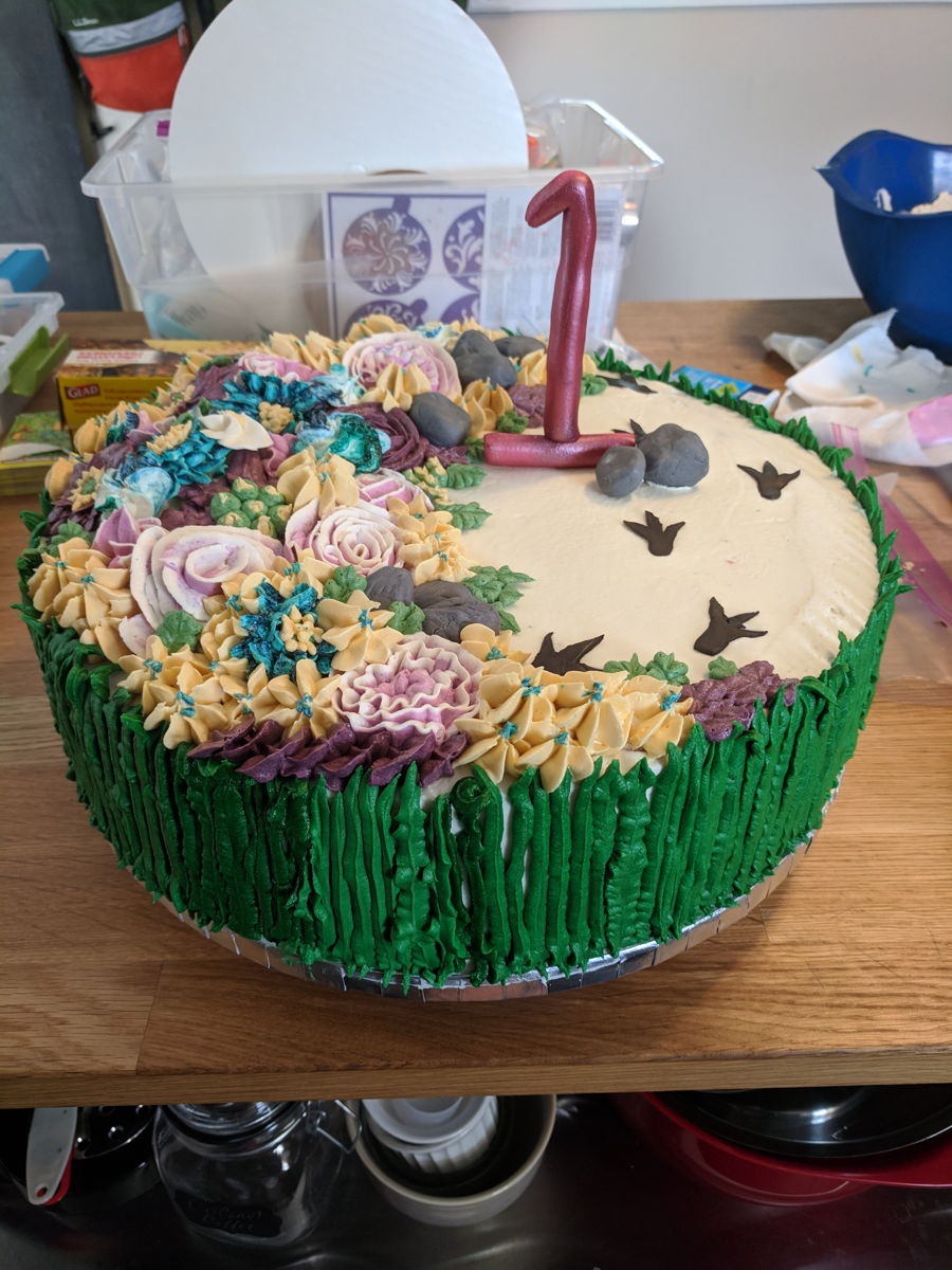 Dinosaur Prints, Buttercream Flower Cake on Cake Central