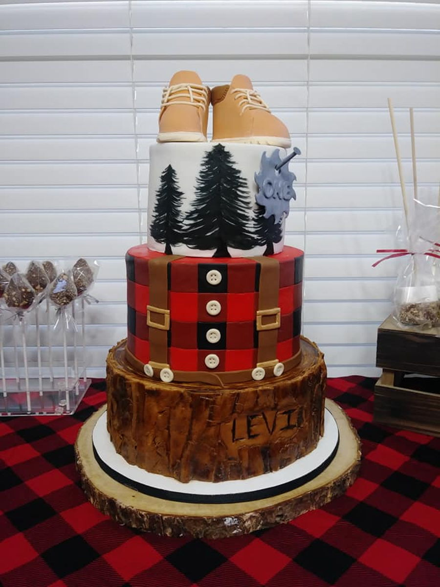 Lumber Jack Theme First Birthday Cake on Cake Central