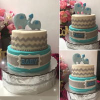 Baby Shower Elephat Boy 2 LEVELS10¨VANILLA CAKE8¨BUTTERPECAN CAKEBUTTERCREAM AND FONDANT DETAILS
