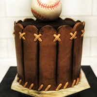 Baseball Cake Chocolate ganache cake with fondant RKT cake topper