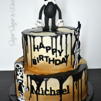 "Bendy And The Ink Machine This is an Icing Smiles cake delivered today. The bottom tier is 12"" chocolate and vanilla swirl with milk chocolate ganache and..."