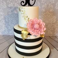 Black And White Striped Cake 30th Birthday