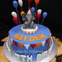 Circus Theme Birthday Cake 9 inch chocolate mud cake with all fondant decorations