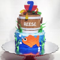 "Fishing Cake Fishing themed child's birthday cake4"" fondant paneled bait bucket topped with chocolate cracker crumbs and gummy..."