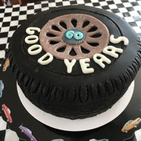 Goodyear Tire Cake For A Car Nut I made this Goodyear tire cake for my husband's 60th birthday. It was a dark chocolate, salted caramel cake which, I'm...