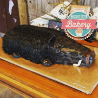 Hog Groom's Cake Carves cake covered in fondant and airbrushed. Hair made from fondant ran through an extruder.
