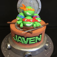 Javen's Ninja Cake Fondant and chocolate covered cereal treats, gumpaste accessories