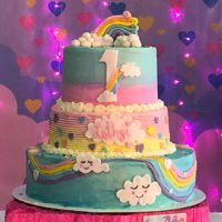 Love Rain 3 LEVELS14¨VANILLA CAKE10¨STRAWBERRY CAKE8¨RAINBOW VANILLA CAKEBUTTERCREAM AND FONDANT.