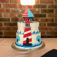 Nautical Baby Shower Cake This was fun. The grandparents gave me a picture of the baby's nursery which became the inspiration for the cake. The boat, lighthouse...