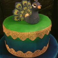 Peacock Cake A madeira sponge filled with homemade lemon curd and lemon buttercream, covered in fondant. Airbrushed ombre effect with gold cake lace,...